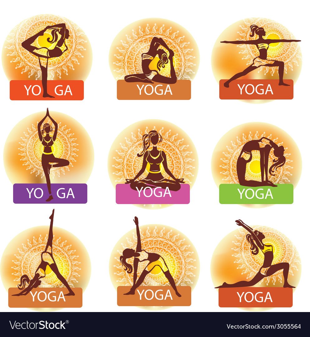 Set of woman in meditating and doing yoga poses vector | Price: 1 Credit (USD $1)