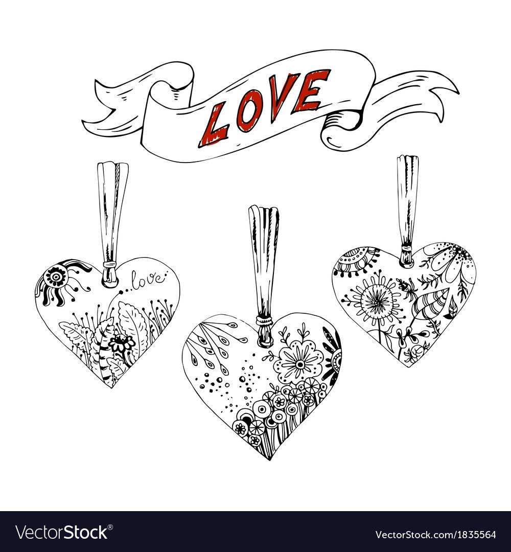 Sketch hearts with floral motif vector   Price: 1 Credit (USD $1)