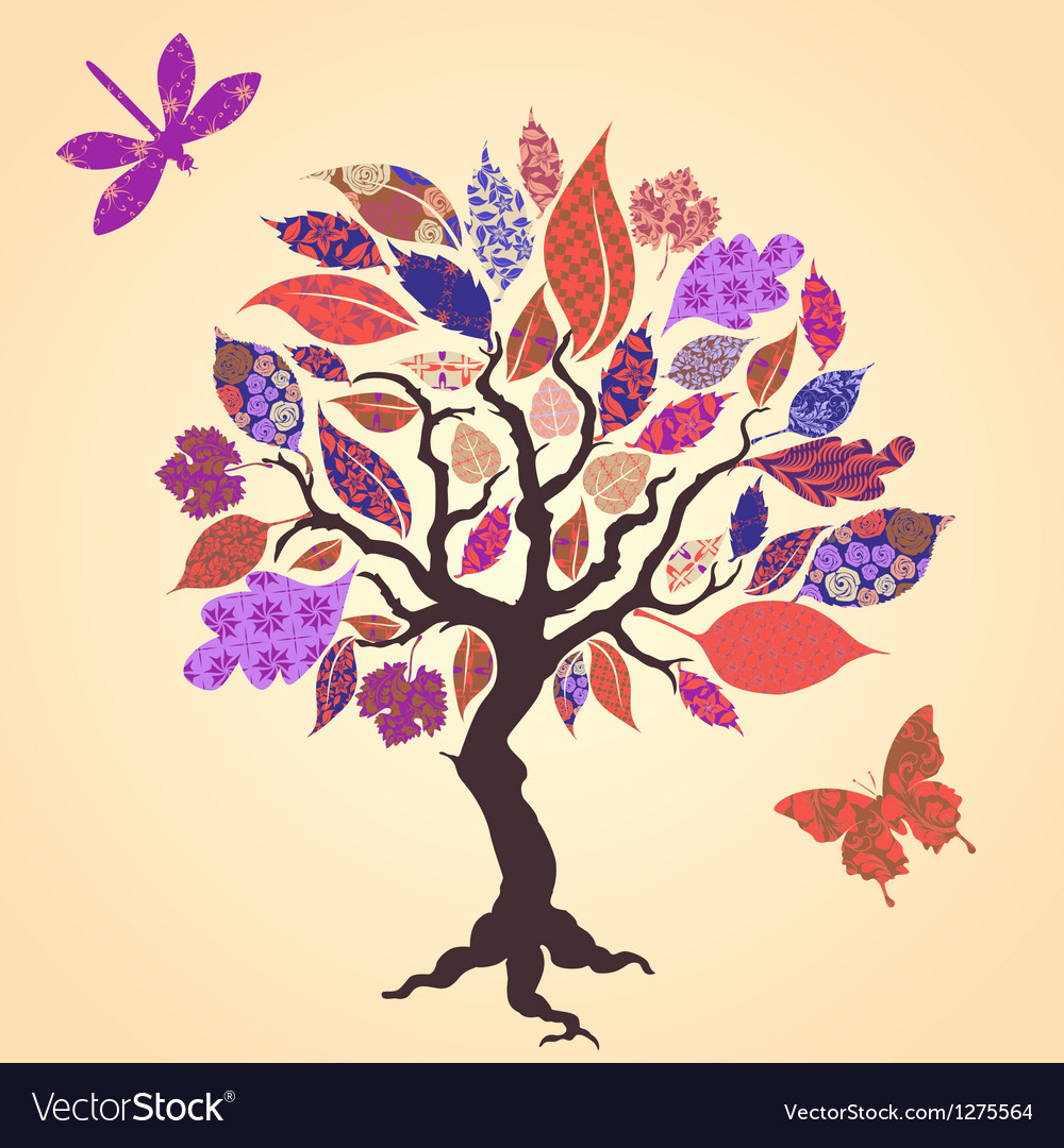 Tree with patch leaves vector | Price: 1 Credit (USD $1)