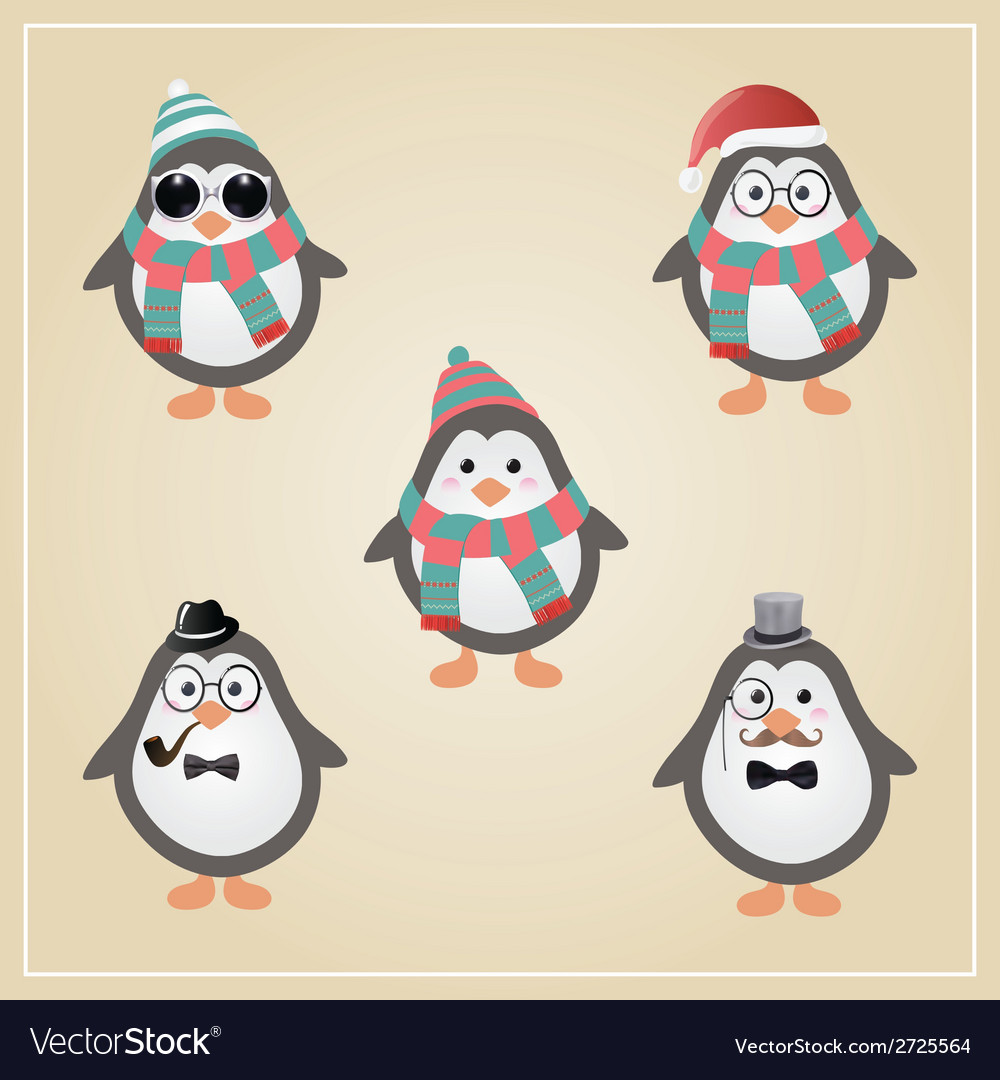 Winter hipster penguins vector | Price: 1 Credit (USD $1)
