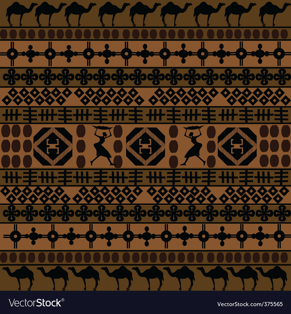 African motifs and camels vector | Price: 1 Credit (USD $1)