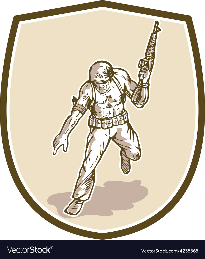 American soldier serviceman armalite rifle cartoon vector | Price: 1 Credit (USD $1)