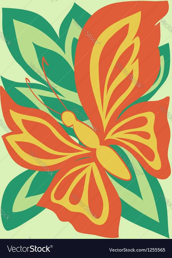 Butterfly card amid the foliage painted in the old vector | Price: 1 Credit (USD $1)