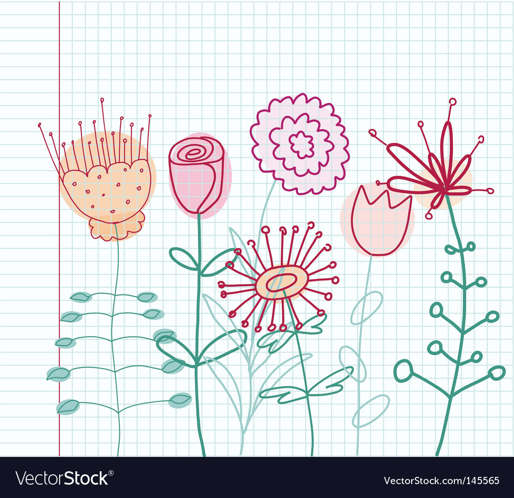 Childlike flowers vector | Price: 1 Credit (USD $1)