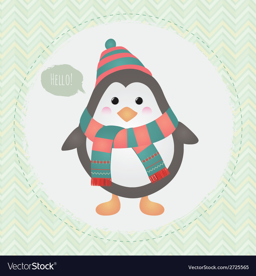 Cute penguin in textured frame design vector | Price: 1 Credit (USD $1)