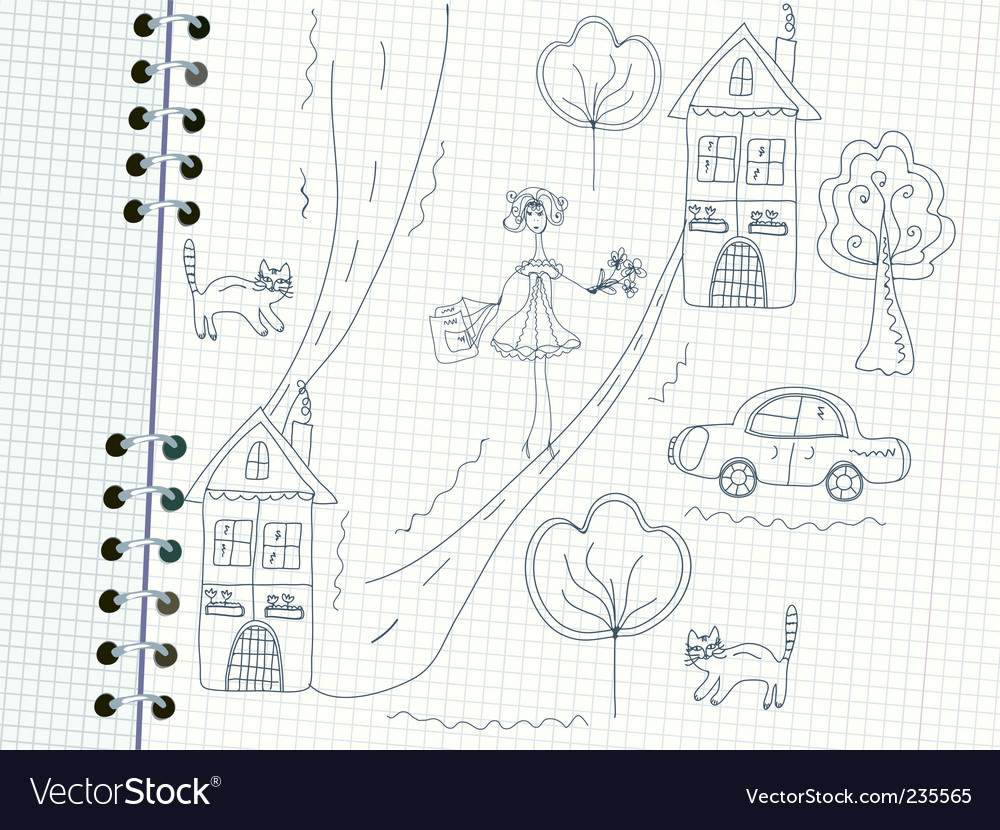 Girl and house doodles vector | Price: 1 Credit (USD $1)