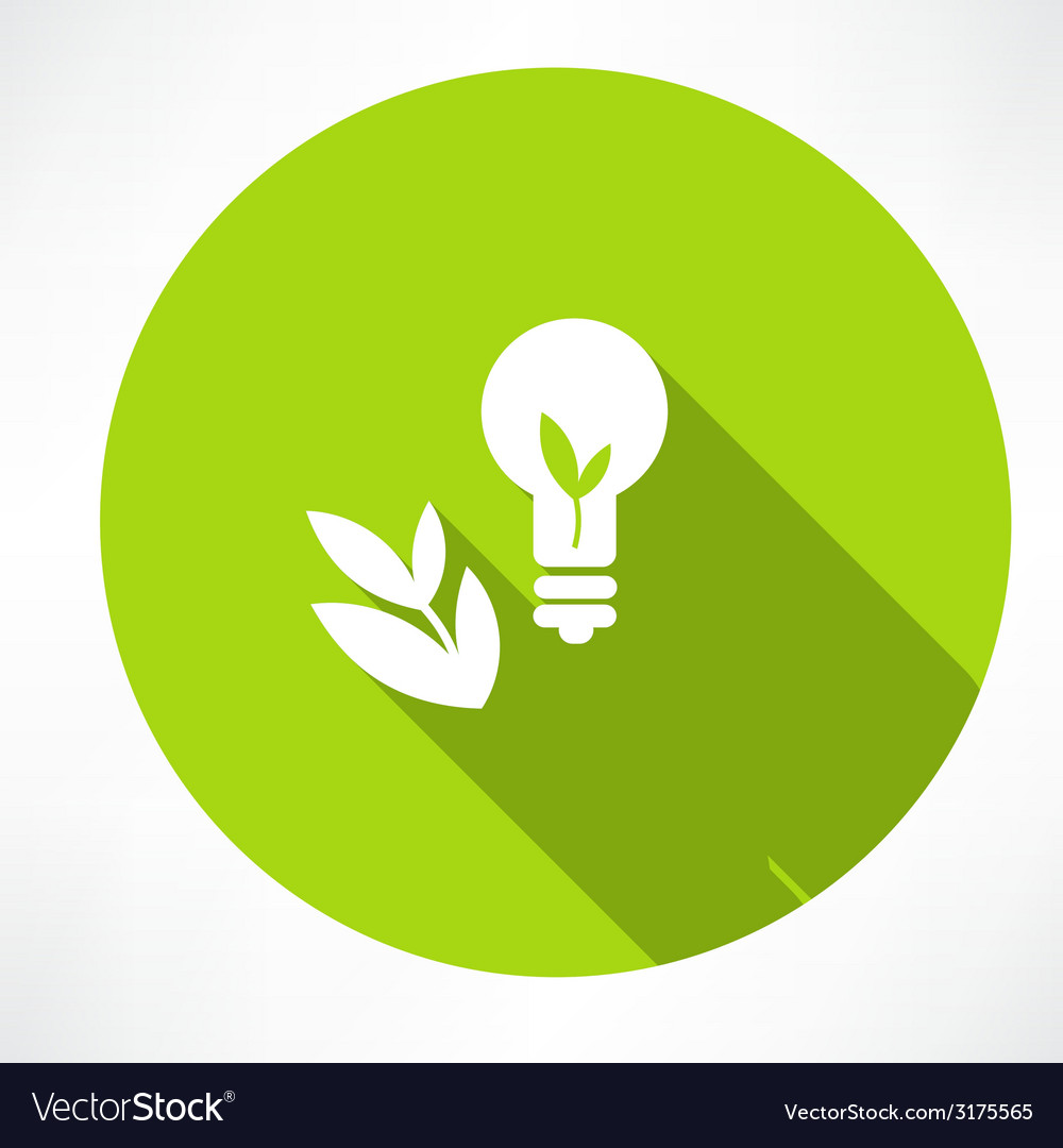 Green bulb with leaf vector | Price: 1 Credit (USD $1)