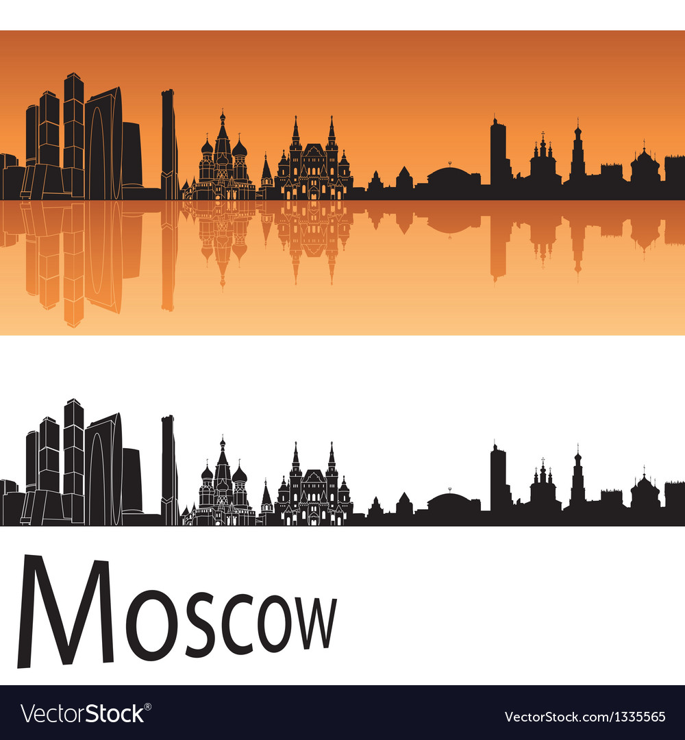Moscow skyline in orange background vector | Price: 1 Credit (USD $1)