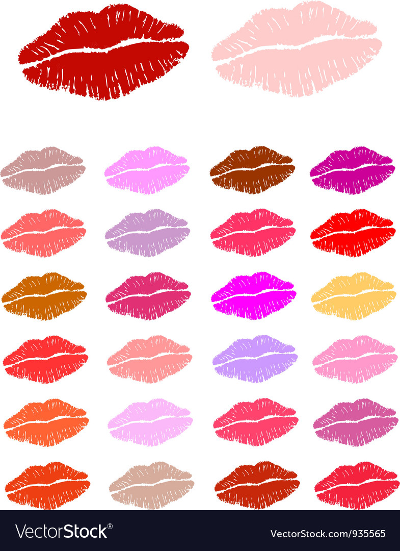 Set of lipstick kisses vector | Price: 1 Credit (USD $1)