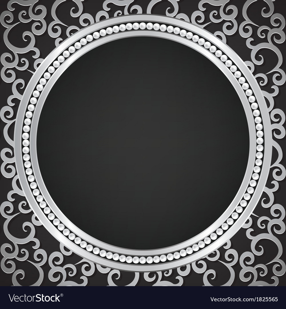 Silver pattern with swirls and pearl frame vector | Price: 1 Credit (USD $1)
