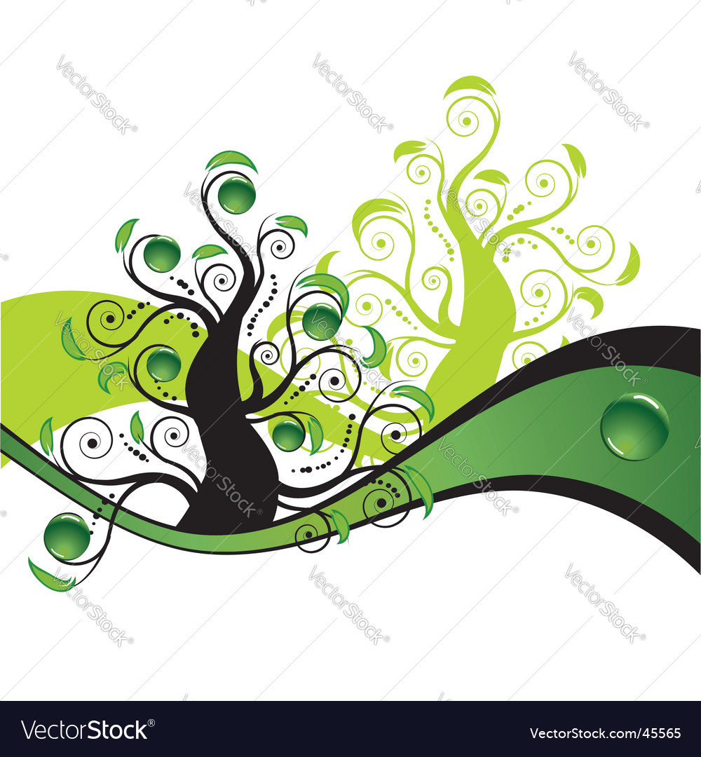 Summer tree background vector | Price: 1 Credit (USD $1)