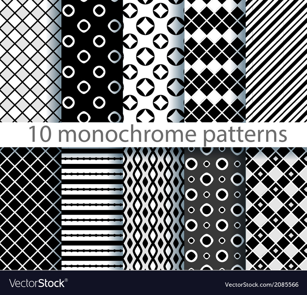 10 seamless monochrome patterns vector | Price: 1 Credit (USD $1)