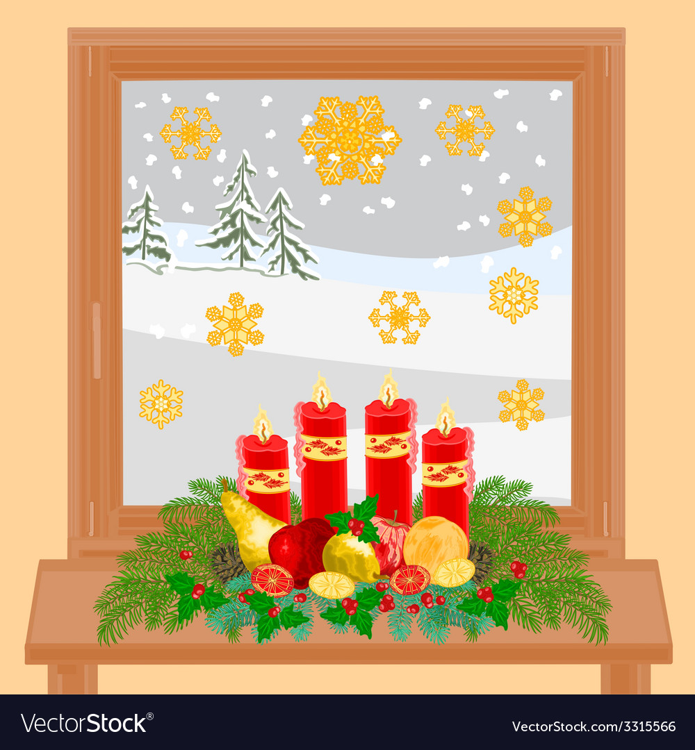 Christmas decoration window with advent wreath vector | Price: 1 Credit (USD $1)