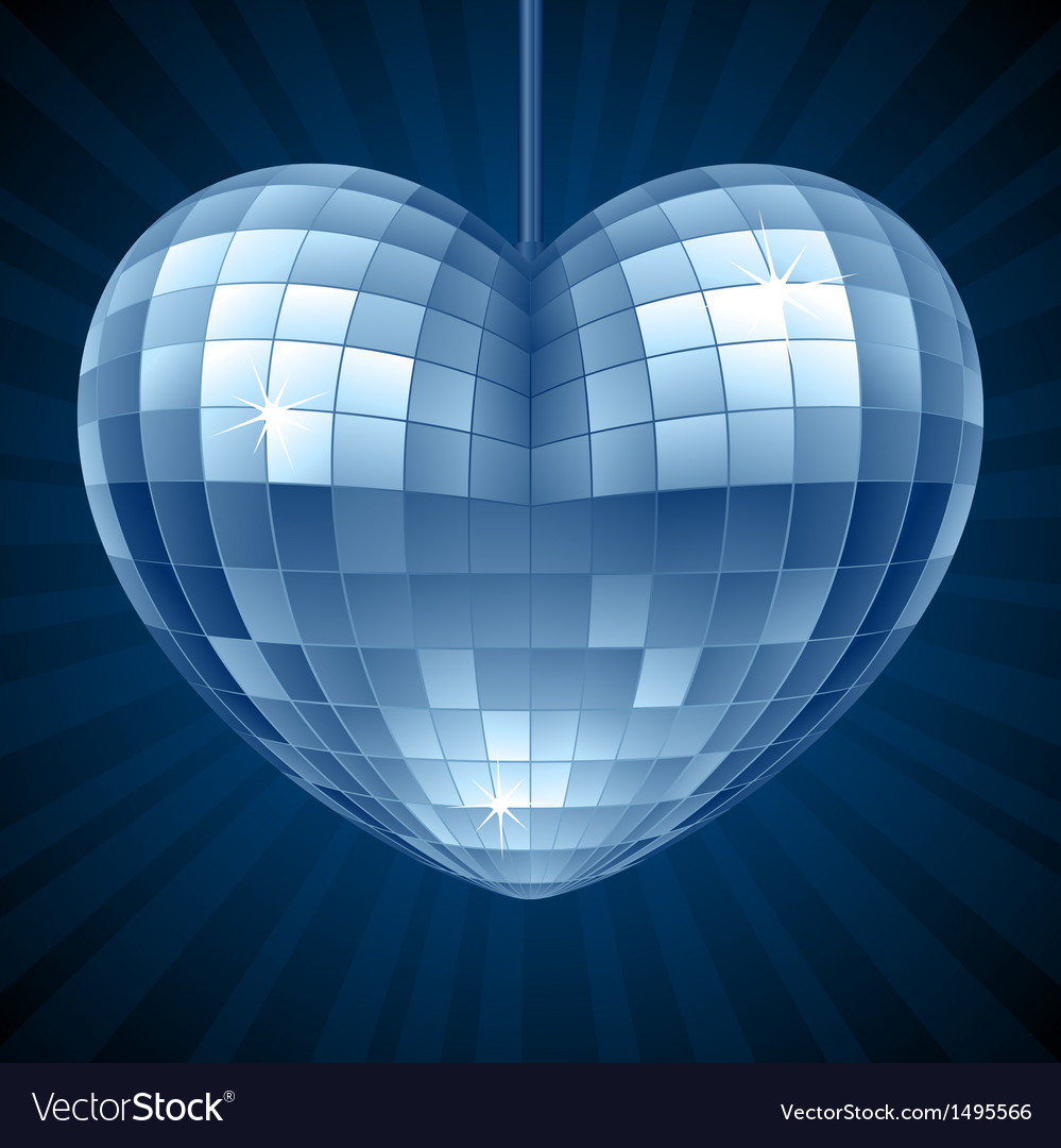 Disco heart blue mirror disco ball vector | Price: 1 Credit (USD $1)