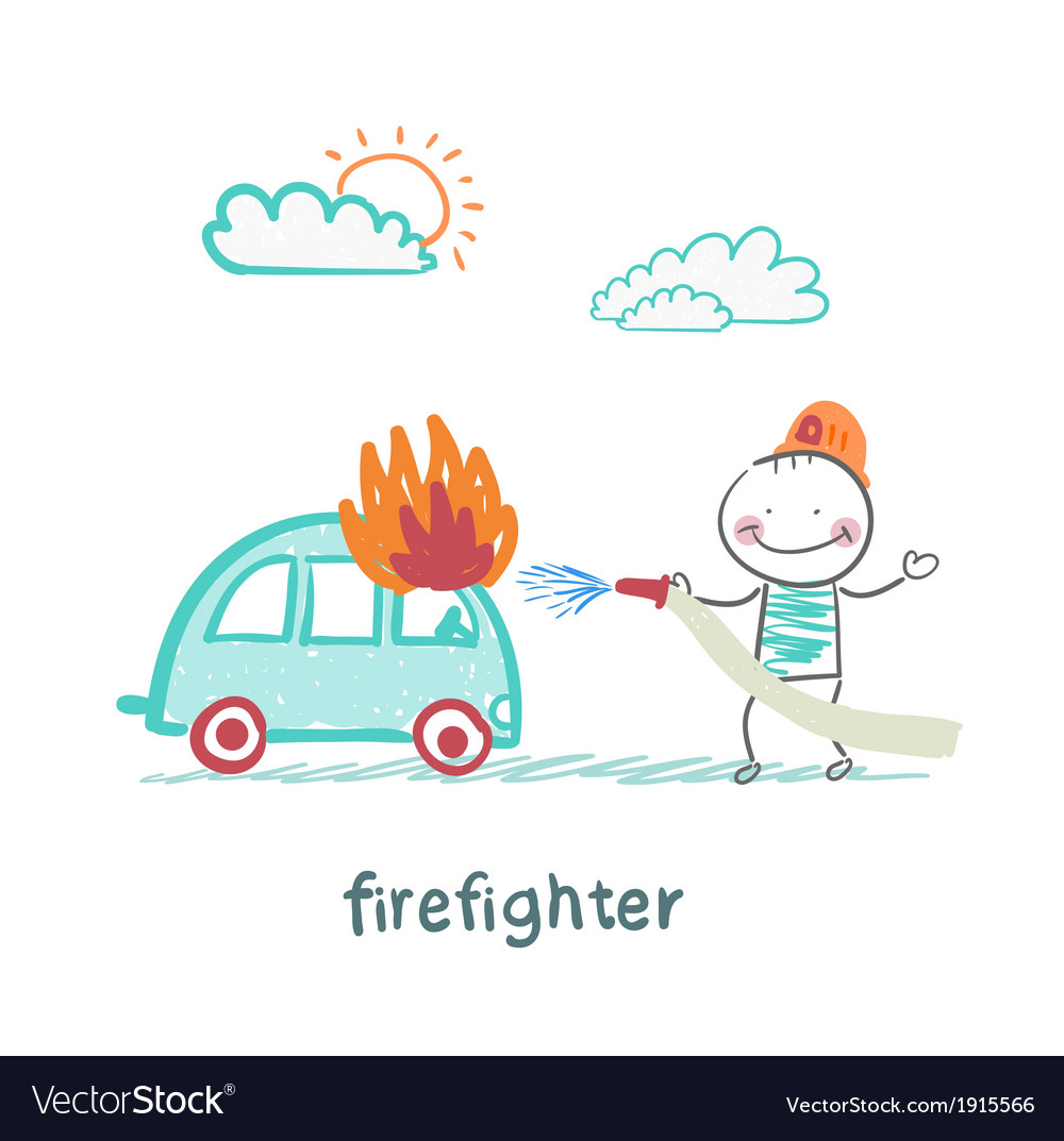 Firefighter extinguishes a car vector | Price: 1 Credit (USD $1)