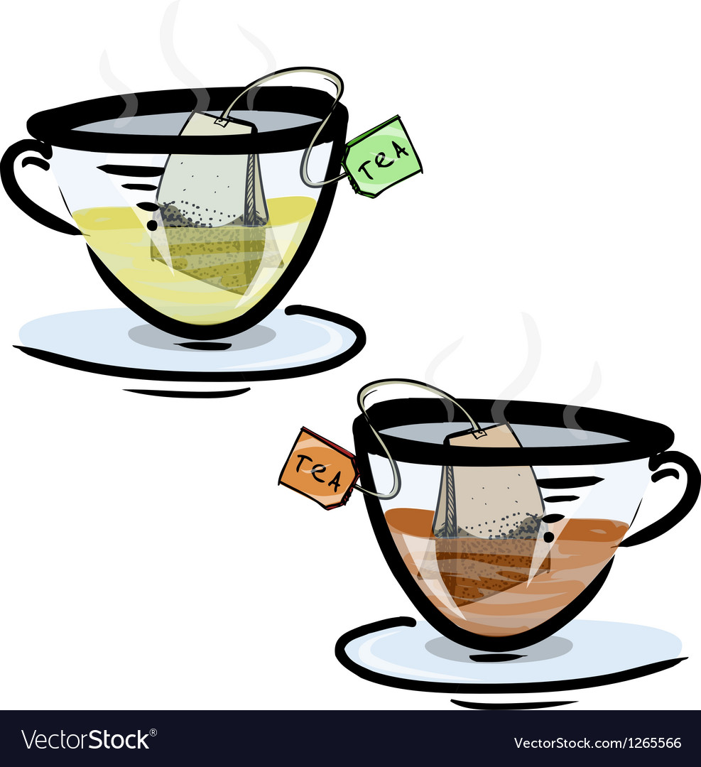 Green and black tea in glass cups vector | Price: 1 Credit (USD $1)
