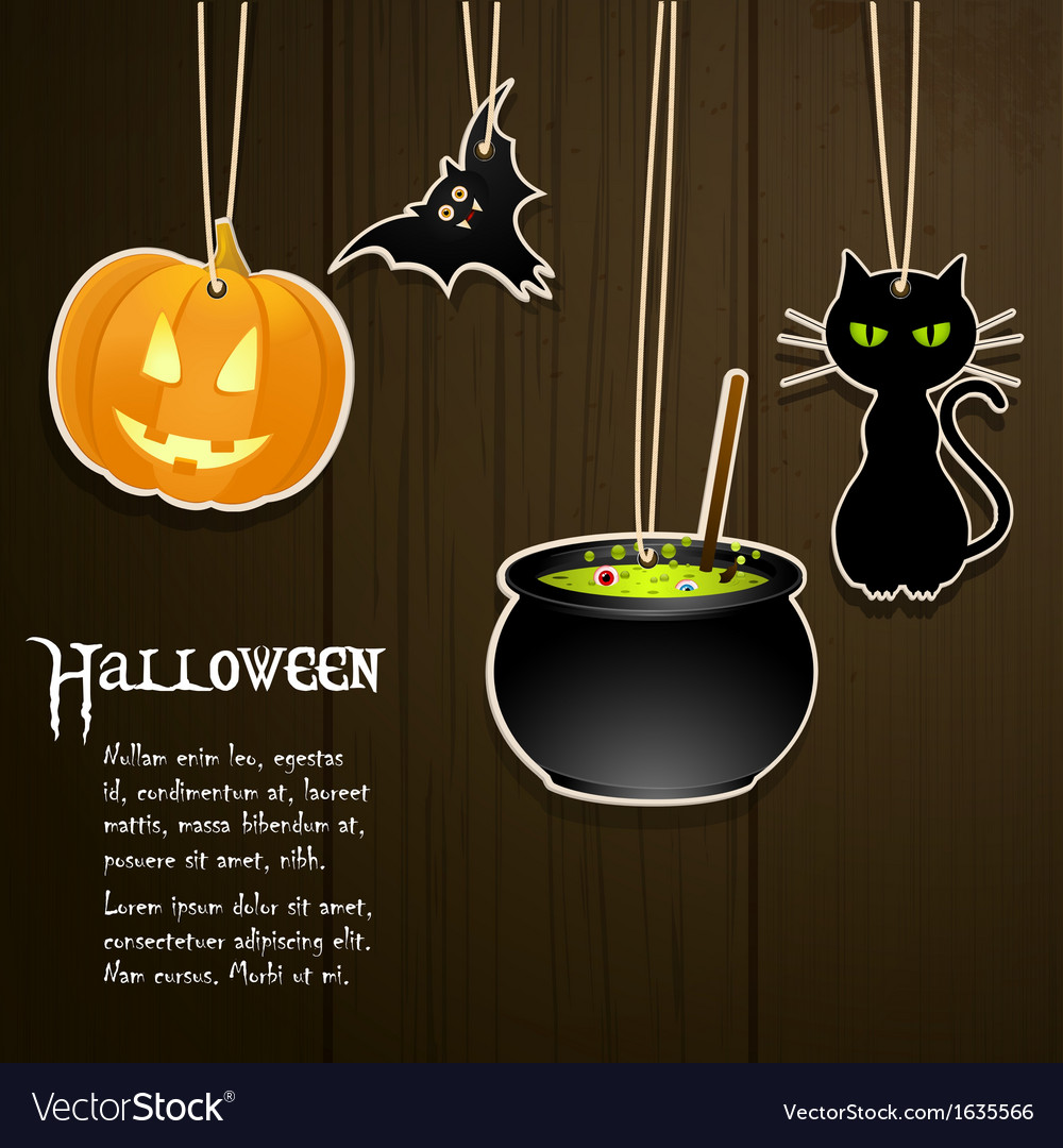 Halloween labels on wood vector | Price: 1 Credit (USD $1)