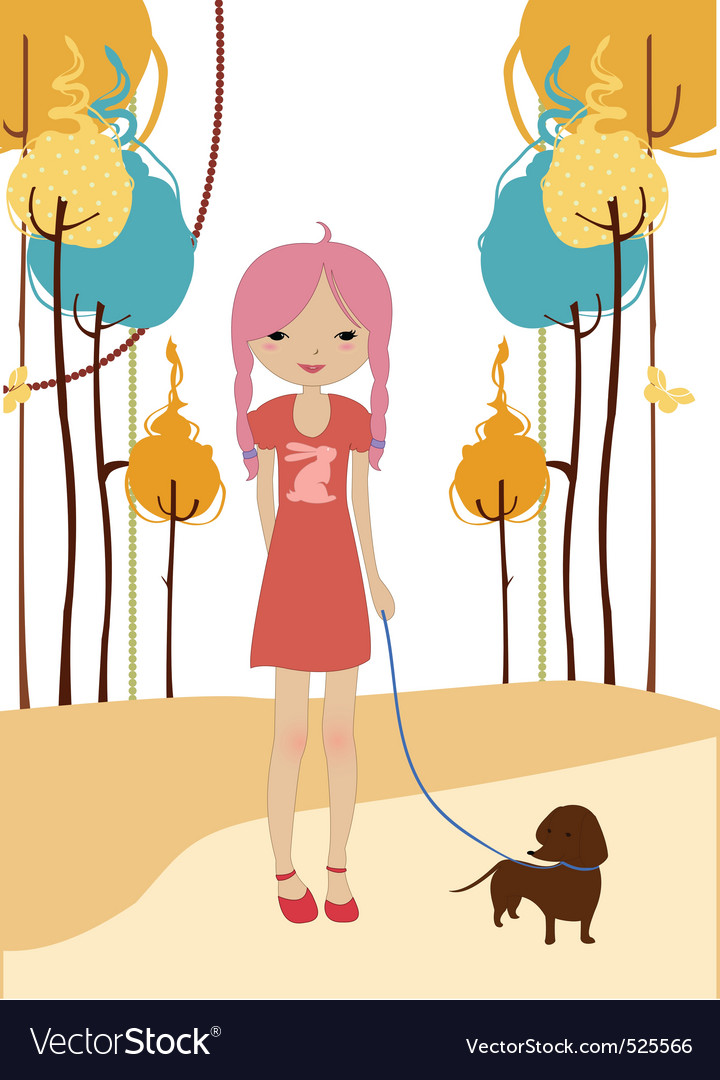 Little young girl walking with the dog vector | Price: 1 Credit (USD $1)