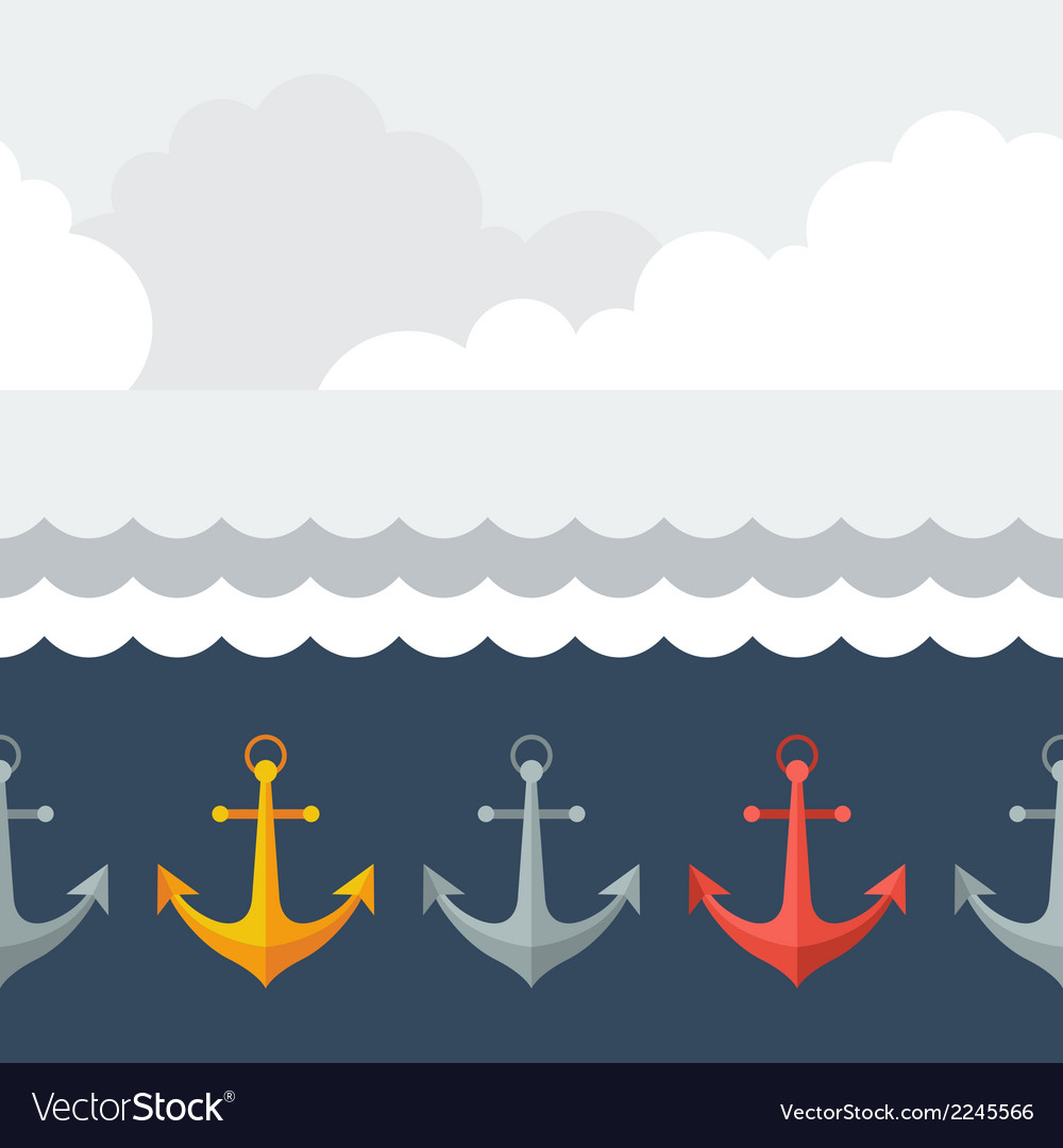 Nautical seamless pattern with anchors in flat vector | Price: 1 Credit (USD $1)