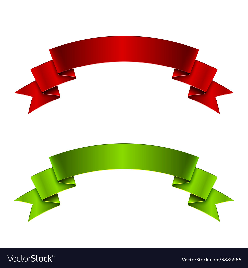 Red and green ribbon vector | Price: 1 Credit (USD $1)