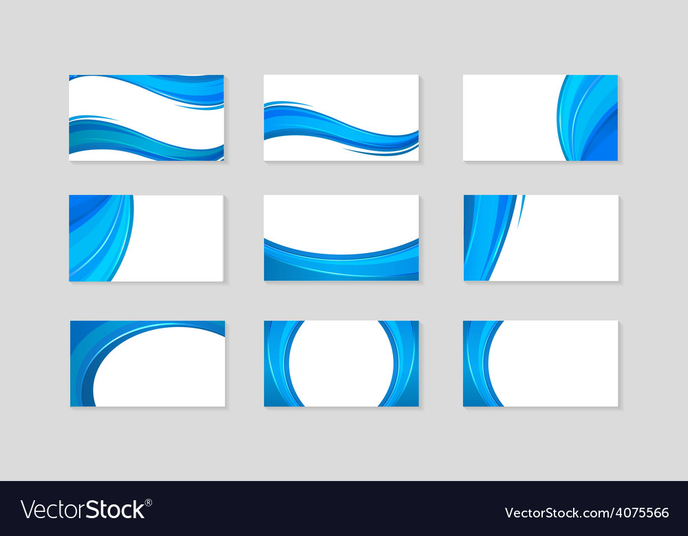 Set of business card with abstract blue waves vector | Price: 1 Credit (USD $1)