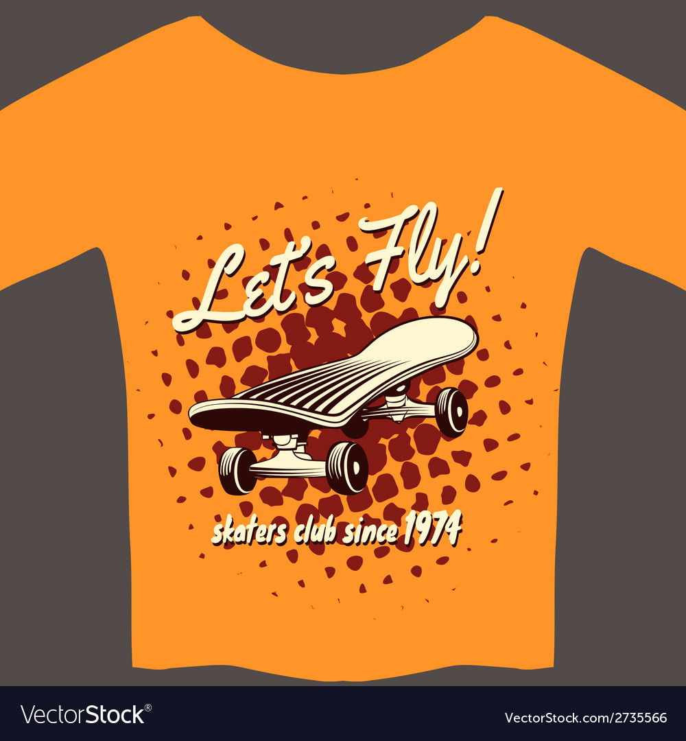 Tee with skateboard vector | Price: 1 Credit (USD $1)