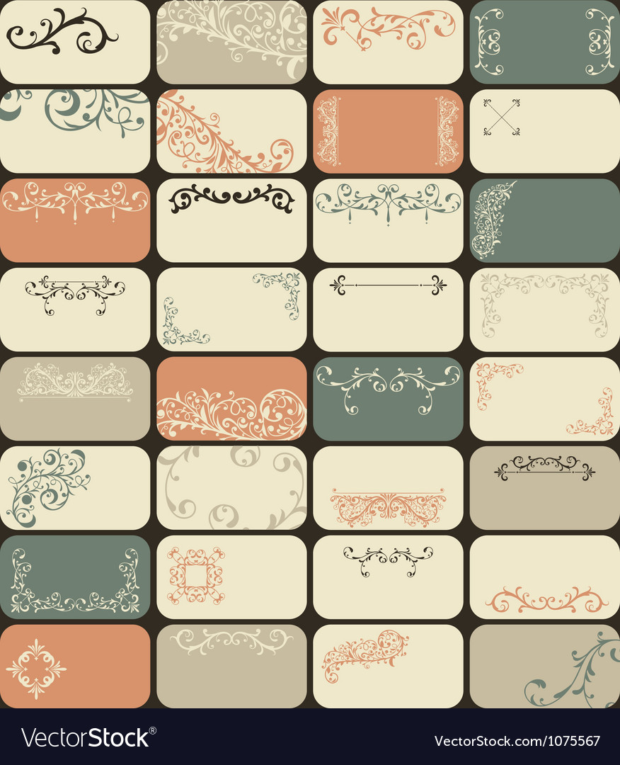 32 retro business cards vector | Price: 1 Credit (USD $1)
