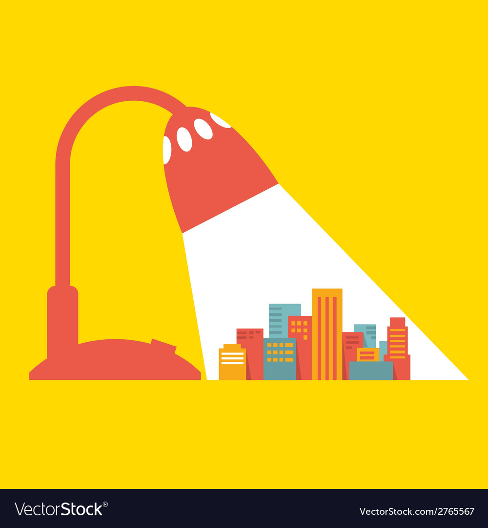 A big city under the light of a desk lamp vector | Price: 1 Credit (USD $1)