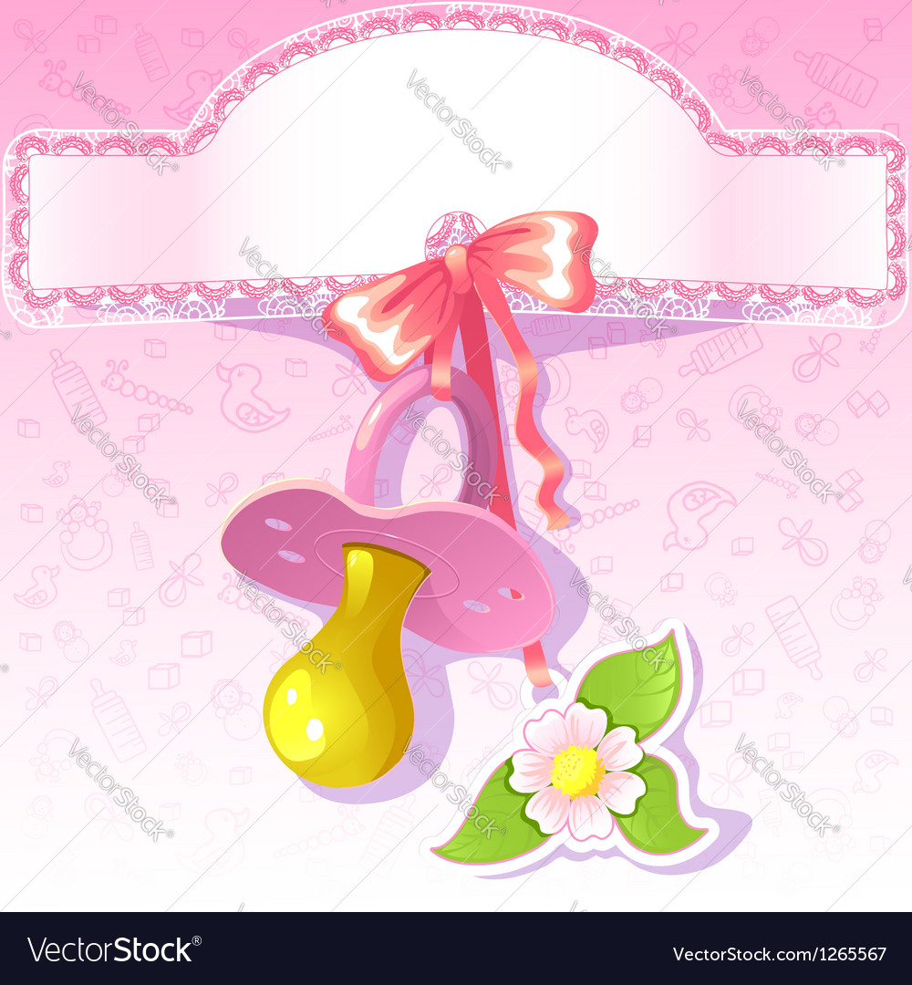 Baby greetings card with pink nipple eps10 vector | Price: 1 Credit (USD $1)