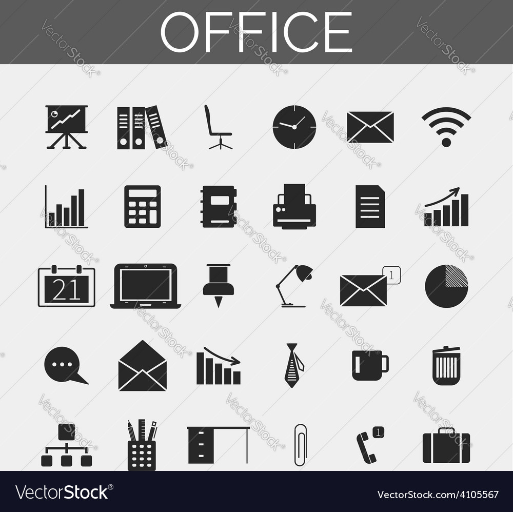 Business and office icons set trendy line icons vector | Price: 1 Credit (USD $1)