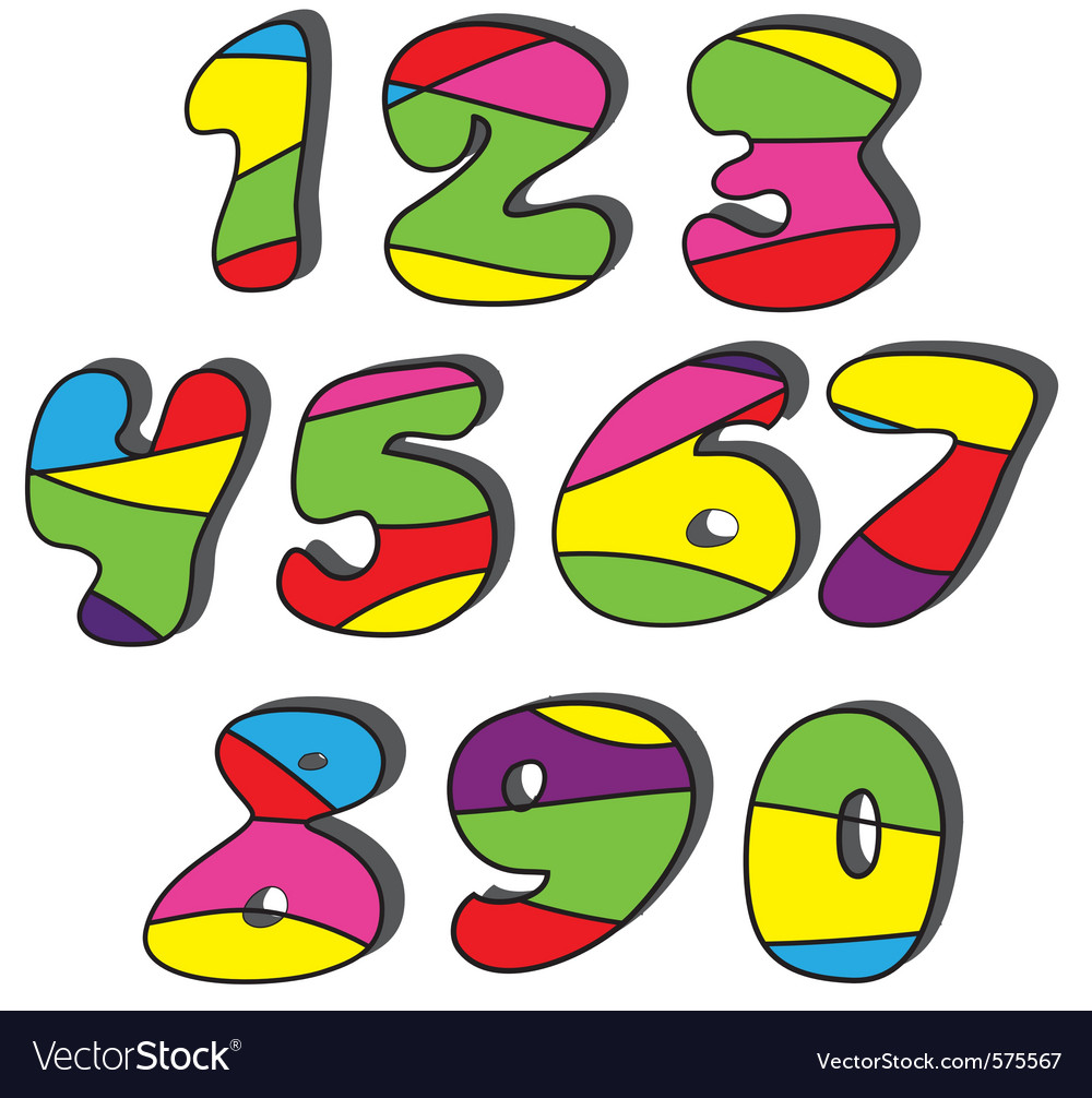 Colorful cartoon numbers set vector | Price: 1 Credit (USD $1)