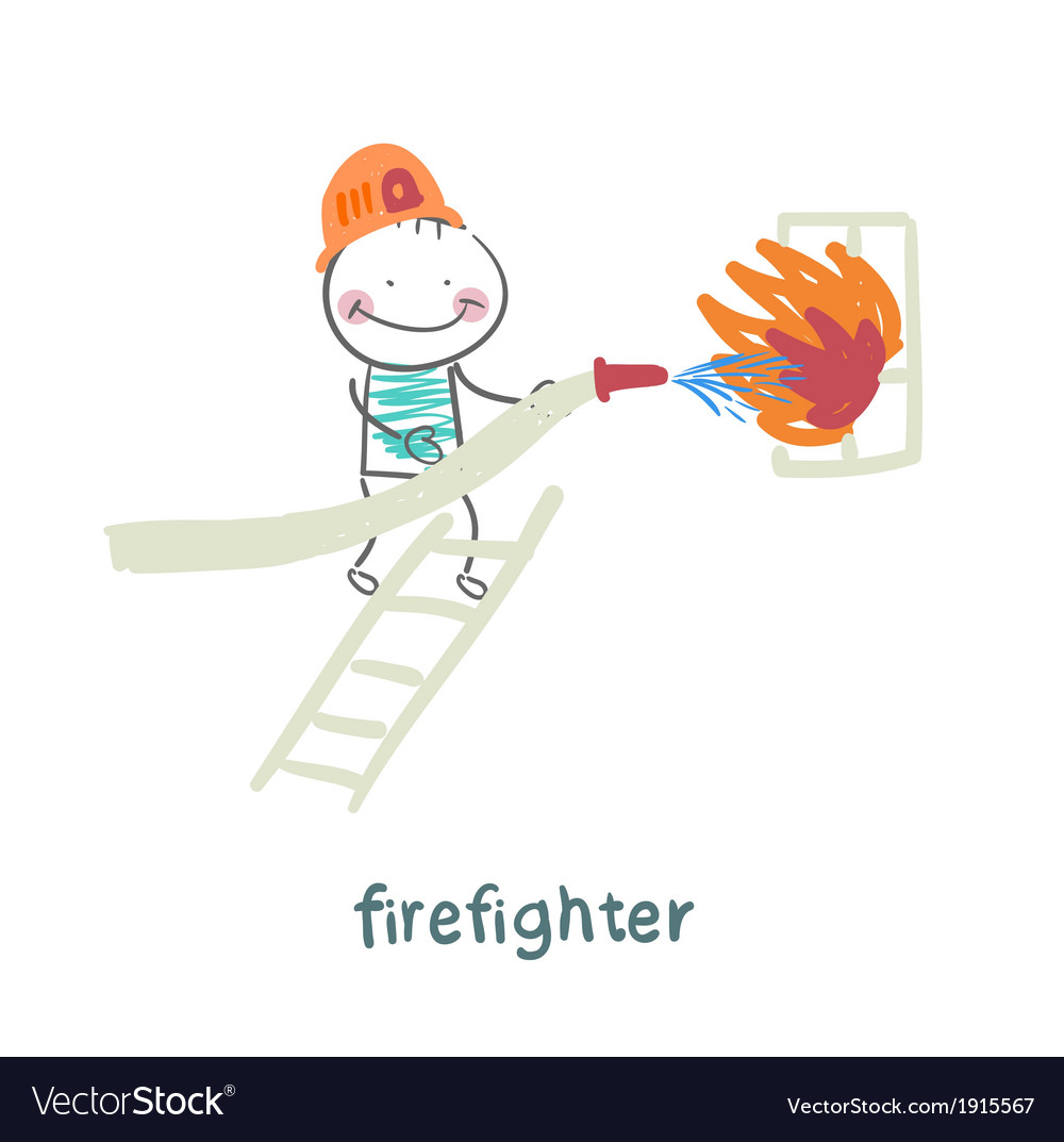 Firefighter puts out a fire in the window standing vector | Price: 1 Credit (USD $1)