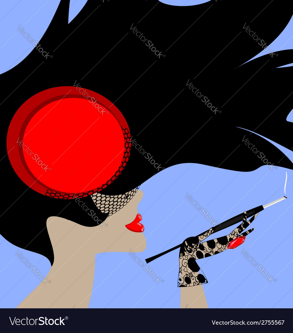 Lady and cigarette vector | Price: 1 Credit (USD $1)