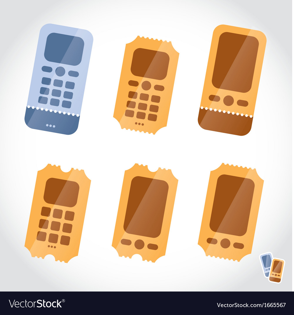 Mobile phone booking online tickets icons vector | Price: 1 Credit (USD $1)