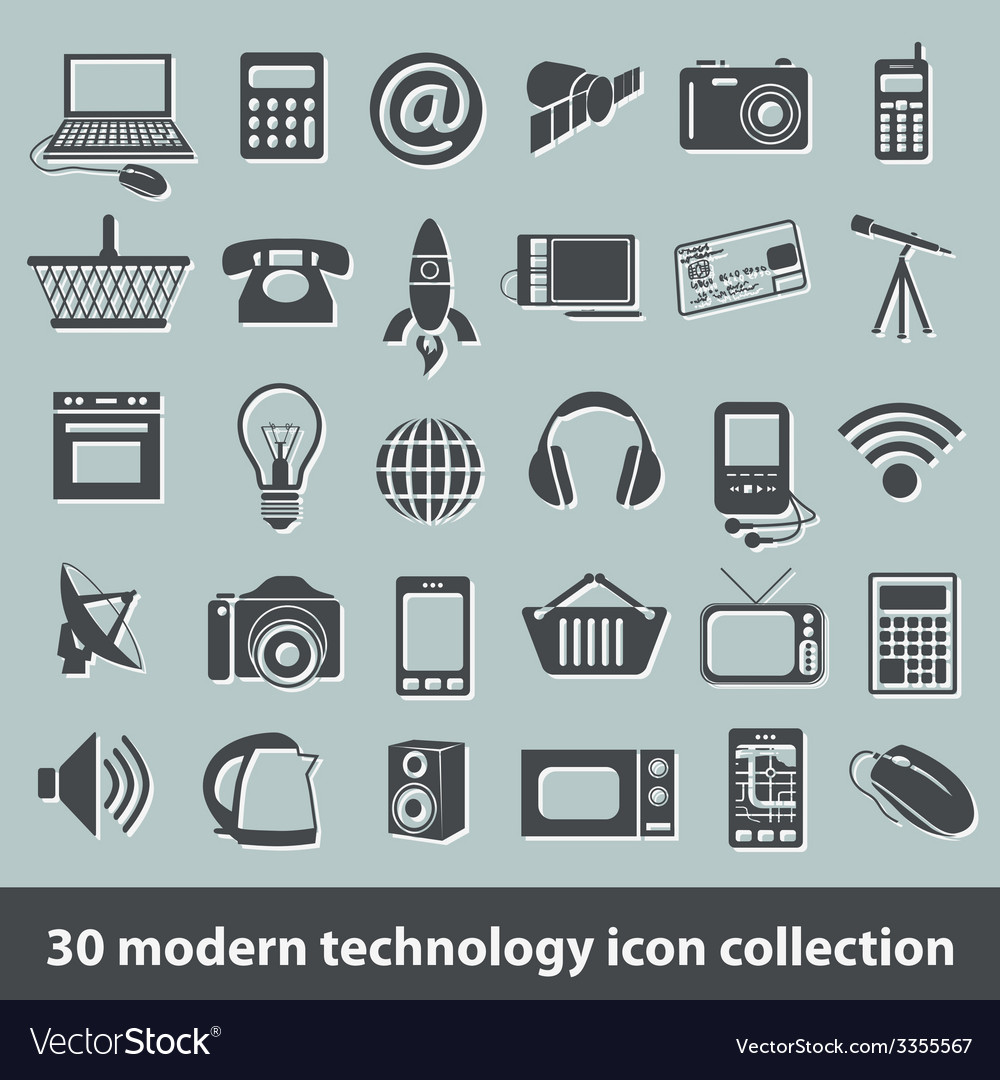 Modern technology icons vector | Price: 1 Credit (USD $1)