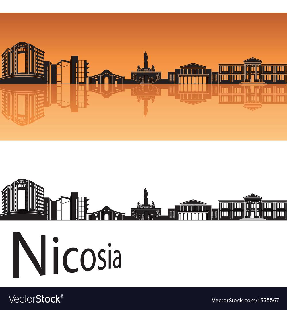 Nicosia skyline in orange background vector | Price: 1 Credit (USD $1)