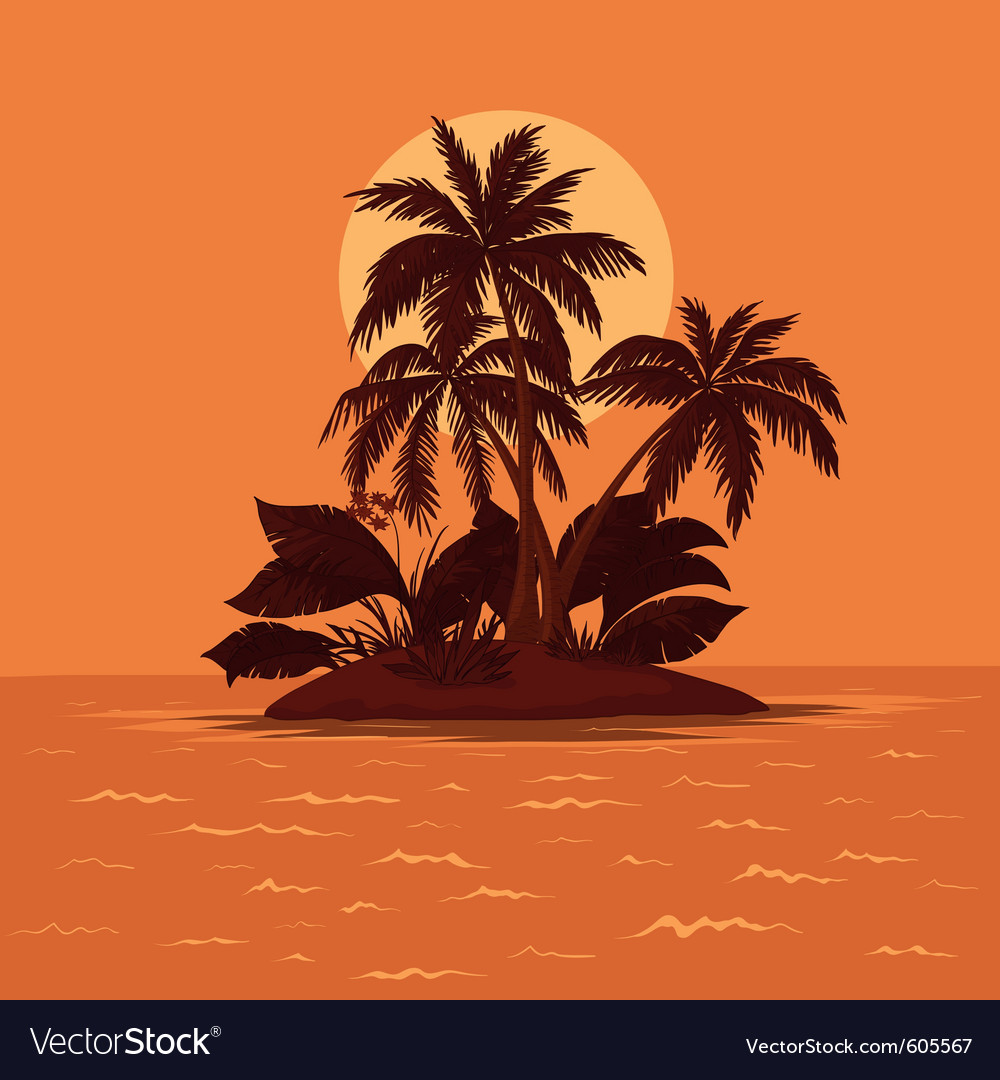 Palm and sun vector | Price: 1 Credit (USD $1)
