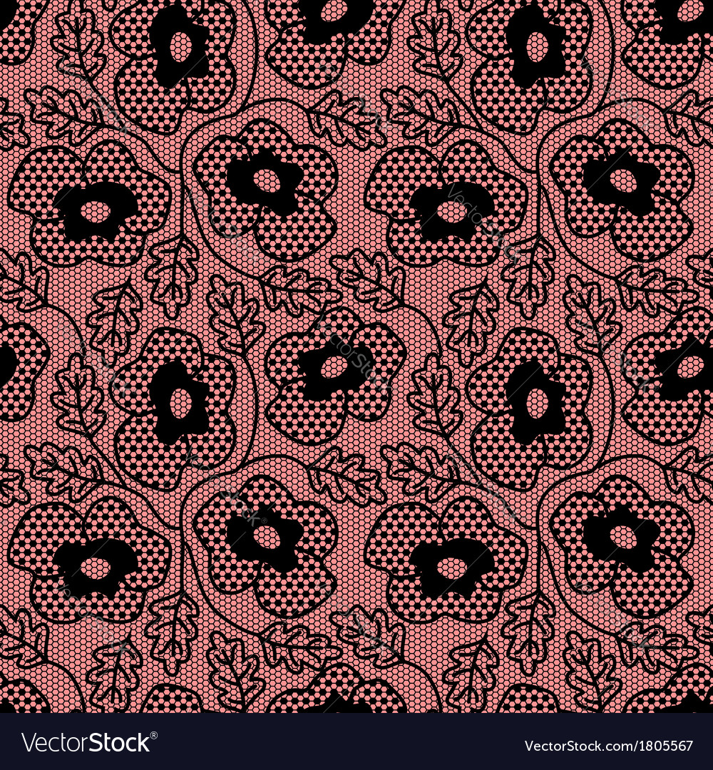 Seamless black flower lace pattern vector   Price: 1 Credit (USD $1)