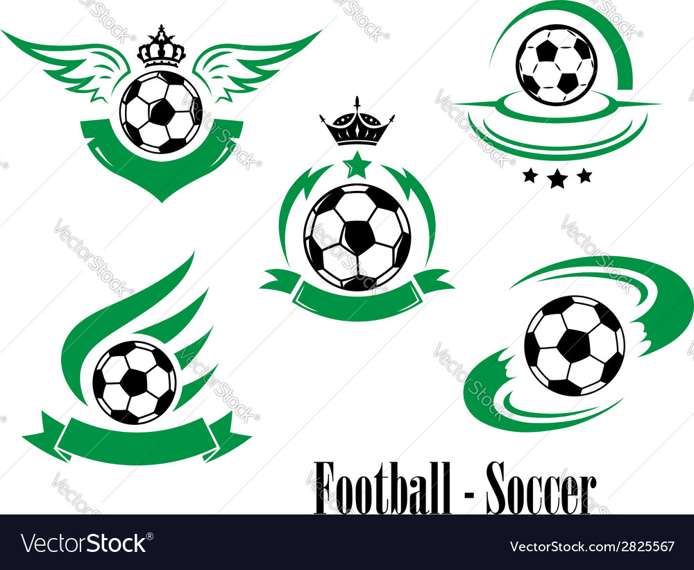 Set of football or soccer emblems vector | Price: 1 Credit (USD $1)