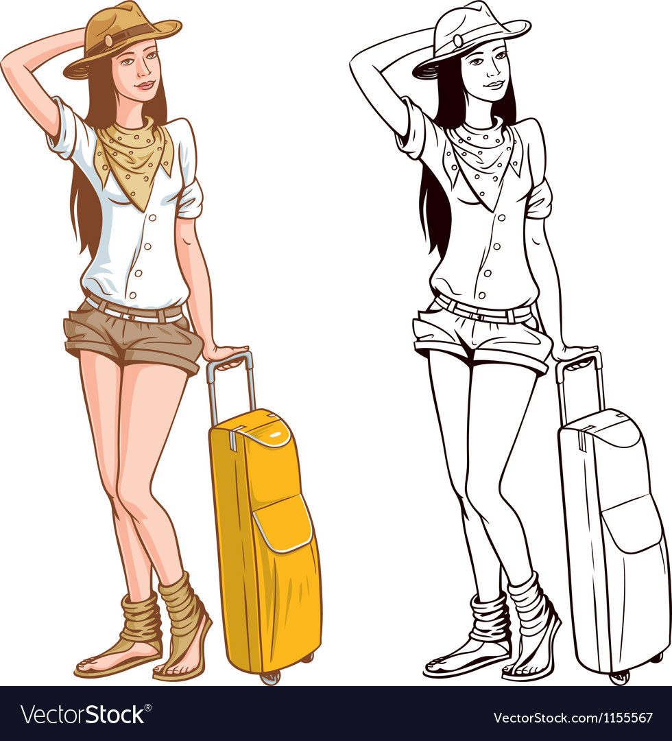 Tourist woman vector | Price: 3 Credit (USD $3)