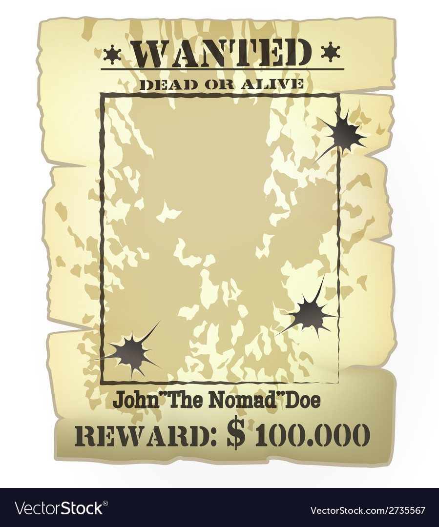 Western wanted poster vector
