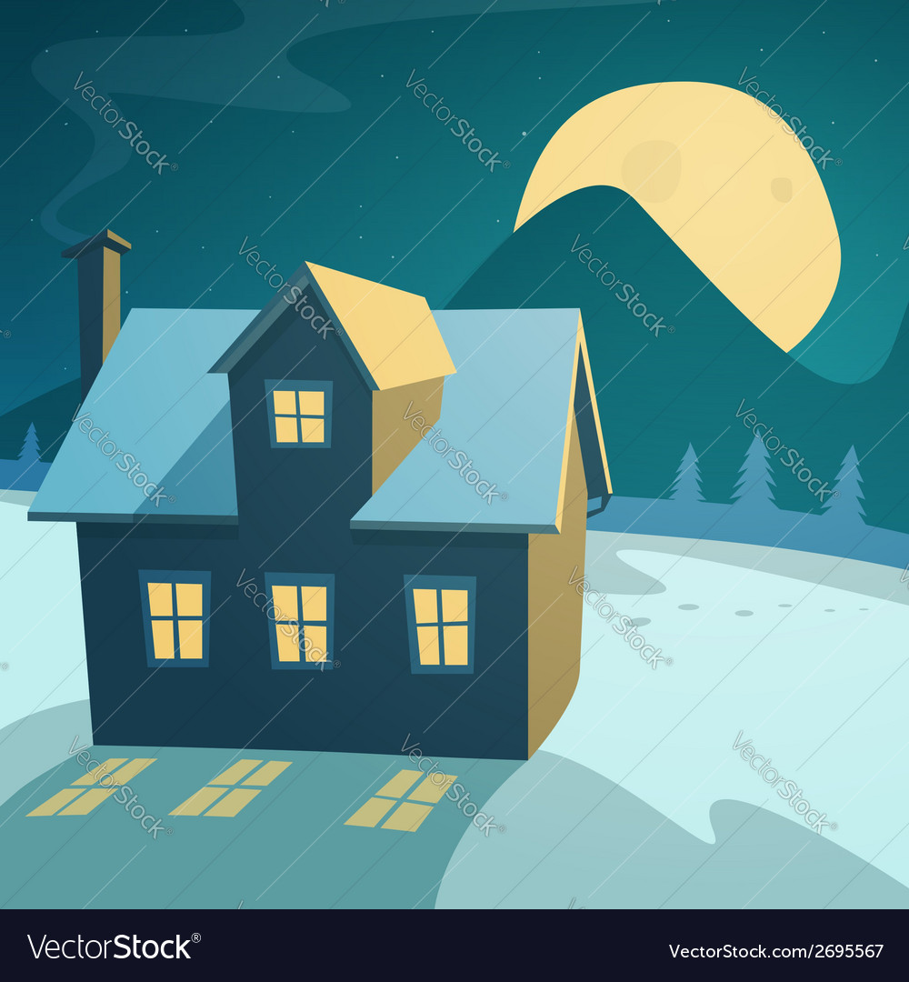 Winter landscape with house vector | Price: 1 Credit (USD $1)