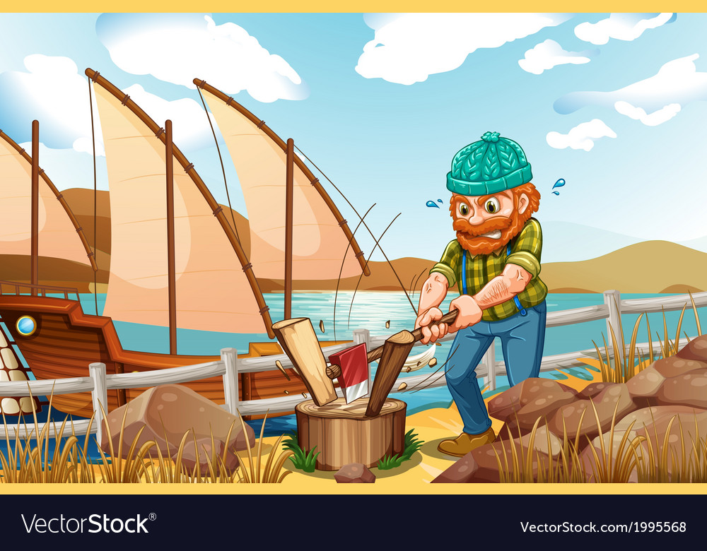 A woodman chopping the woods near the river vector | Price: 3 Credit (USD $3)