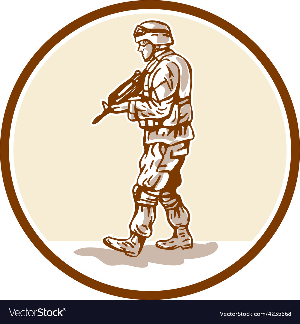 American soldier rifle walking circle cartoon vector | Price: 1 Credit (USD $1)