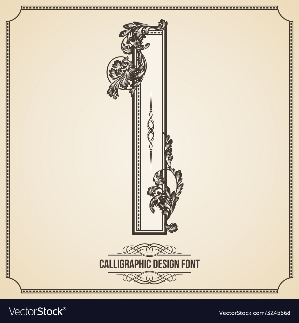 Calligraphic font letter i vector | Price: 1 Credit (USD $1)