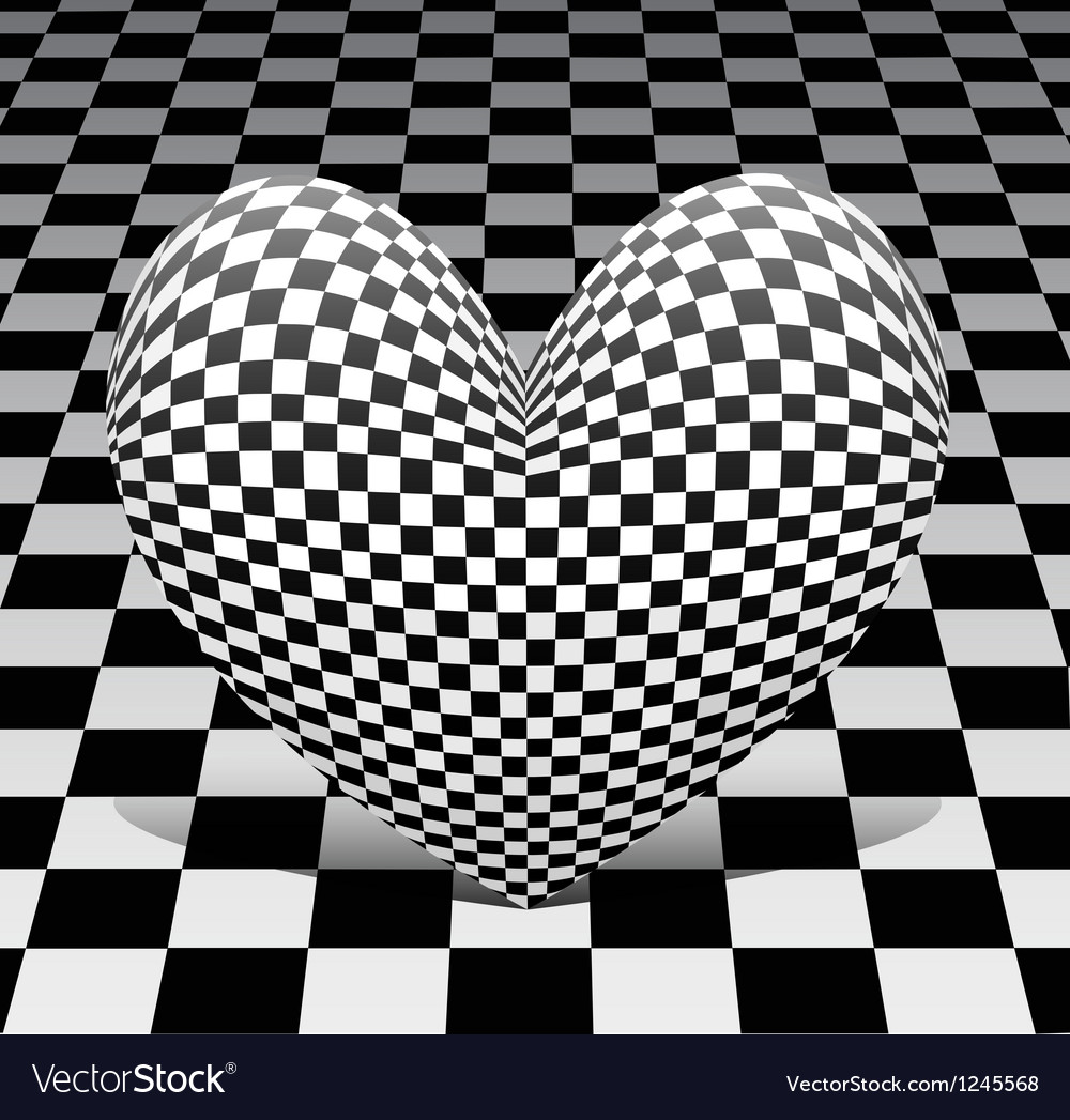Chess heart on the chess background vector | Price: 1 Credit (USD $1)