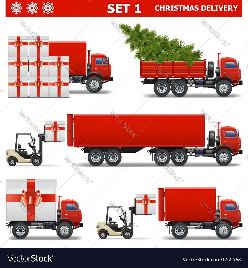 Christmas delivery set 1 vector | Price: 1 Credit (USD $1)