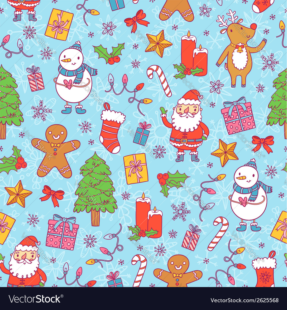 Christmas pattern on blue background vector | Price: 1 Credit (USD $1)