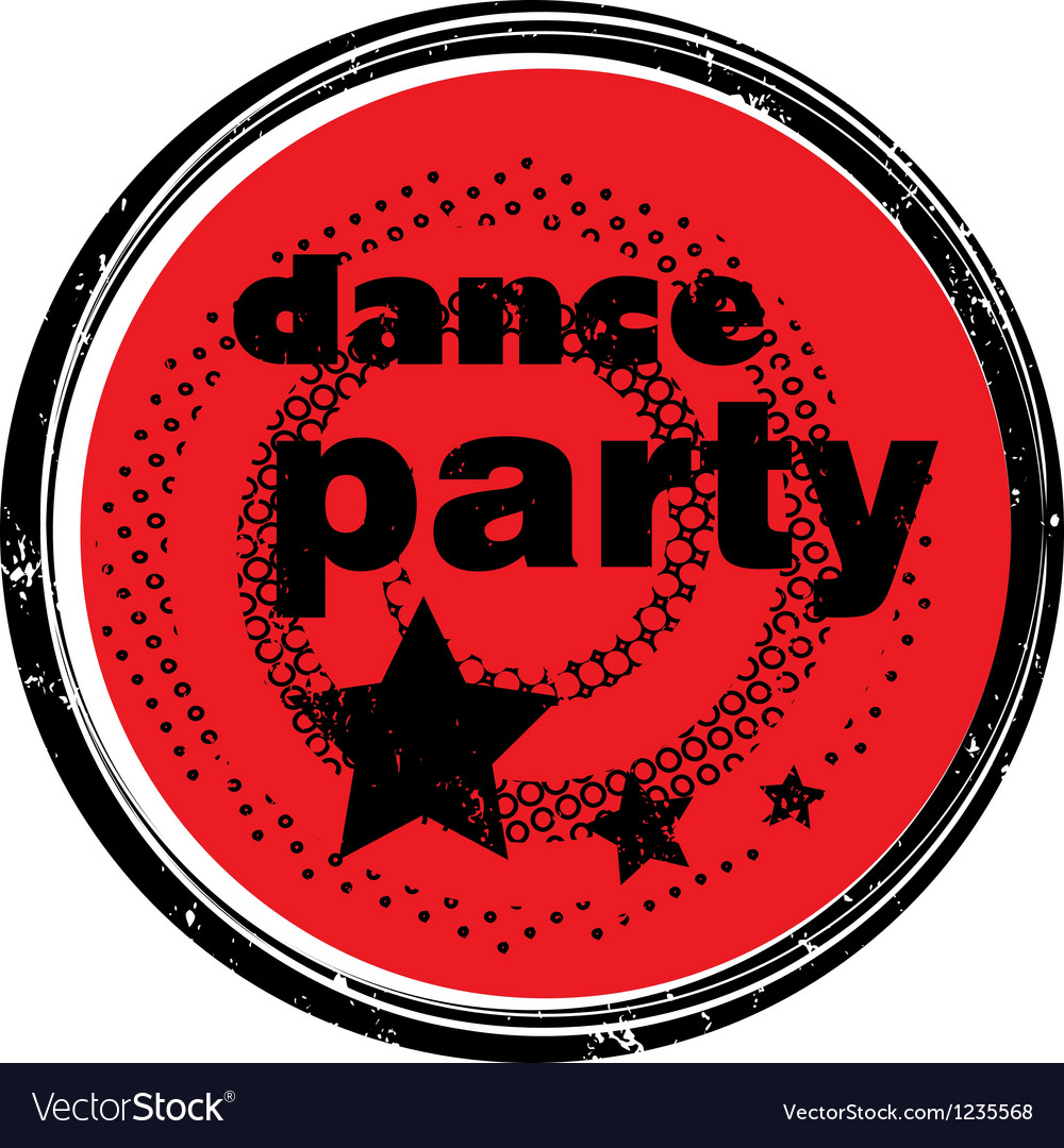 Dance party stamp vector | Price: 1 Credit (USD $1)