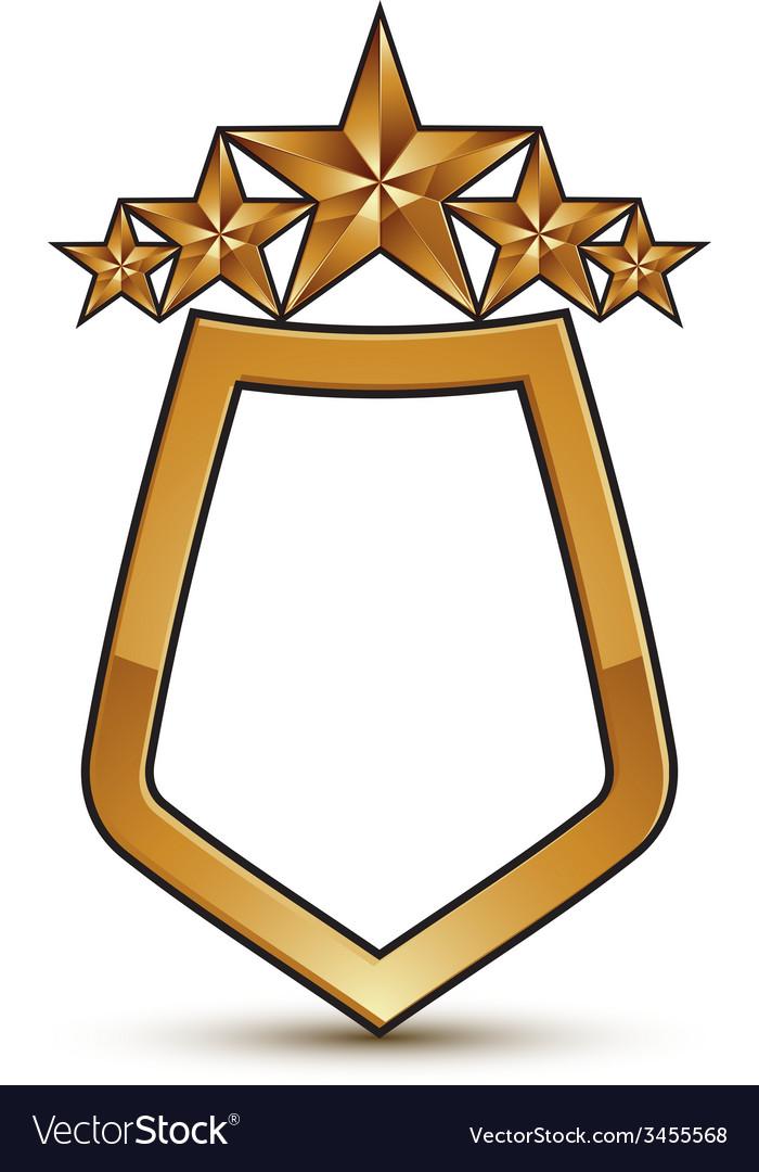 Heraldic template with five pentagonal golden vector | Price: 1 Credit (USD $1)